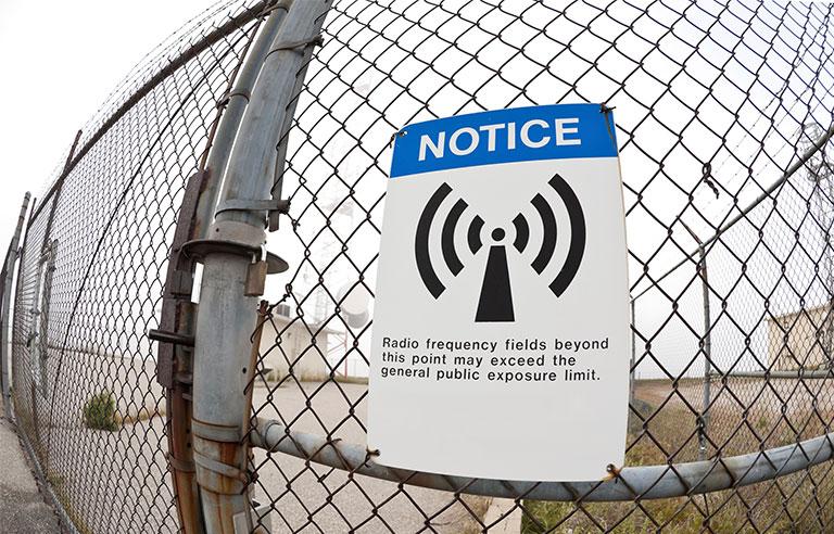 warning sign for high level RF radiation