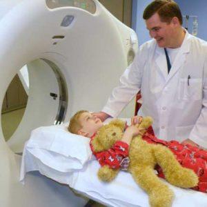 child undergoing CT scan